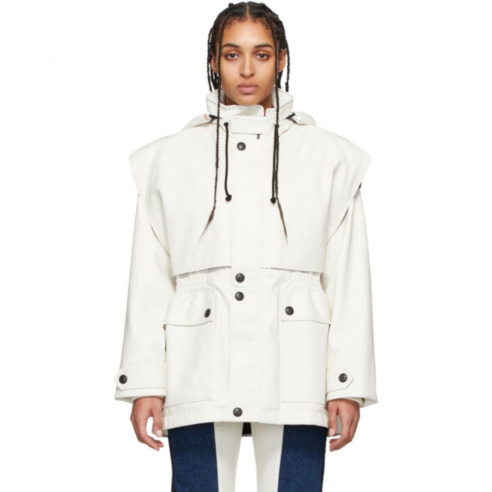 ジーアール ユニフォーマ GR-Uniforma レディース レザージャケット アウター【White Faux-Leather Fireman Coat】White