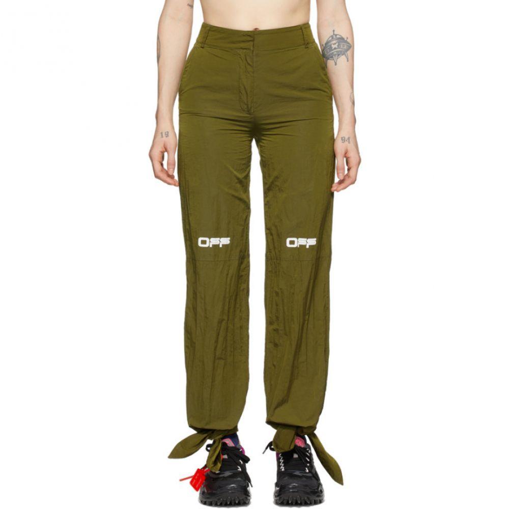 オフホワイト Off-White レディース スウェット・ジャージ ボトムス・パンツ【Green Nylon Bow Lounge Pants】Military green