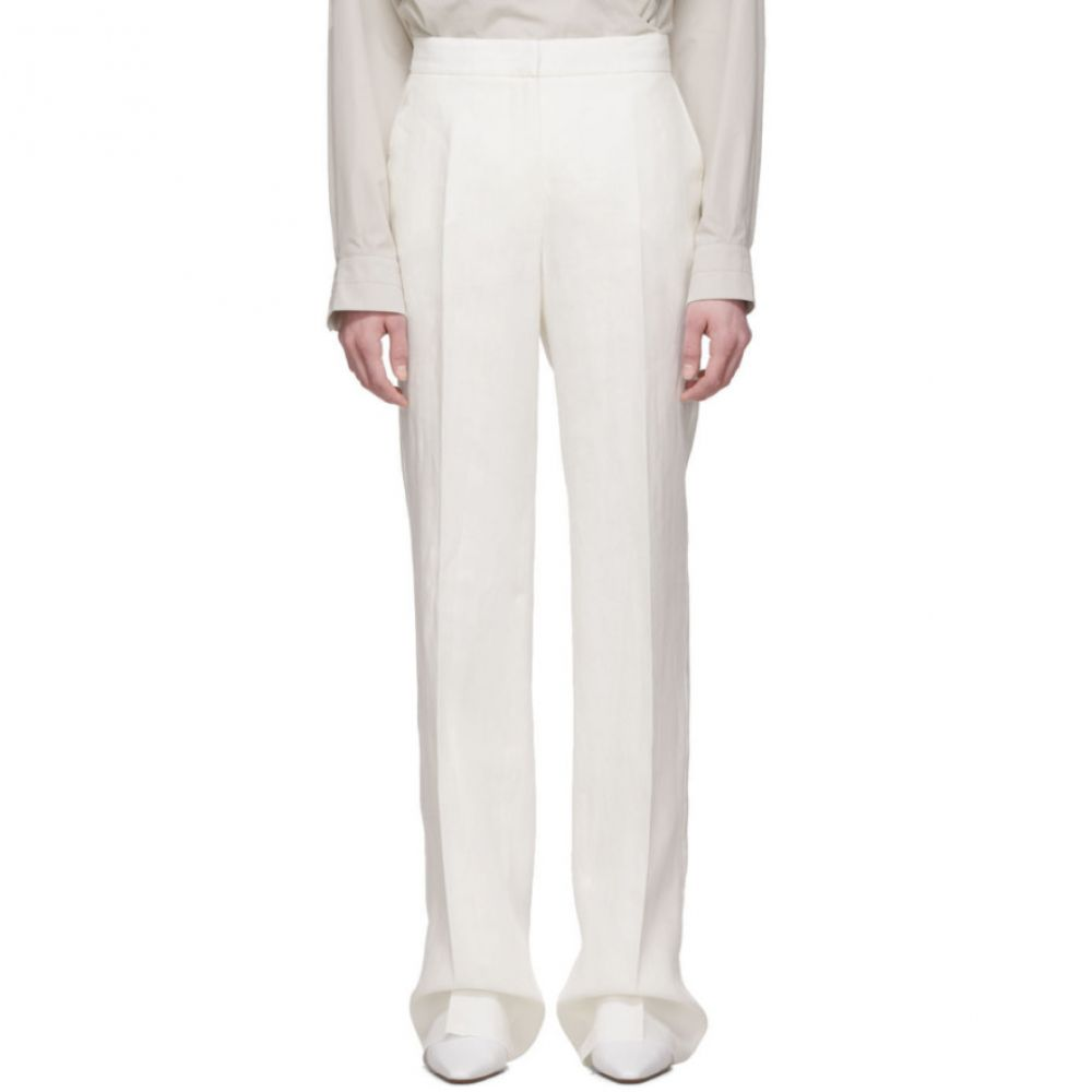 マックスマーラ Max Mara レディース ボトムス・パンツ 【White Linen Urlo Trousers】Silk
