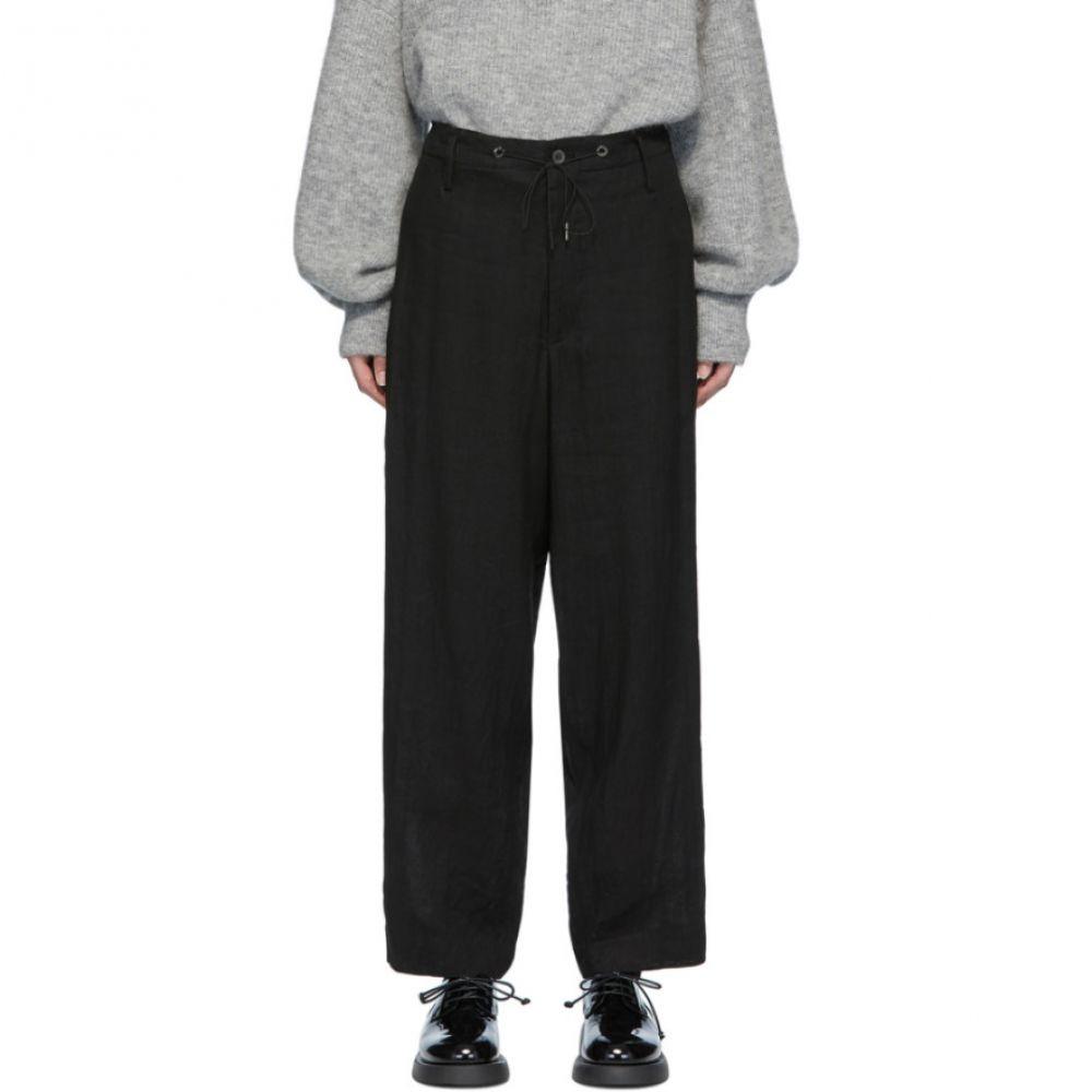 フミト ガンリュウ Fumito Ganryu レディース ボトムス・パンツ 【Black Drawstring Linen Trousers】Black
