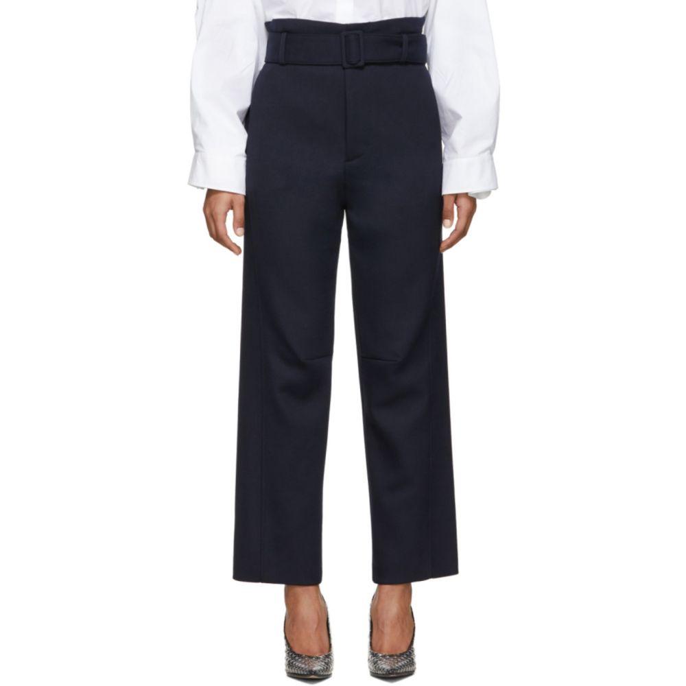 メゾン マルジェラ MM6 Maison Margiela レディース ボトムス・パンツ 【Navy Belted Paperbag Trousers】Blue navy