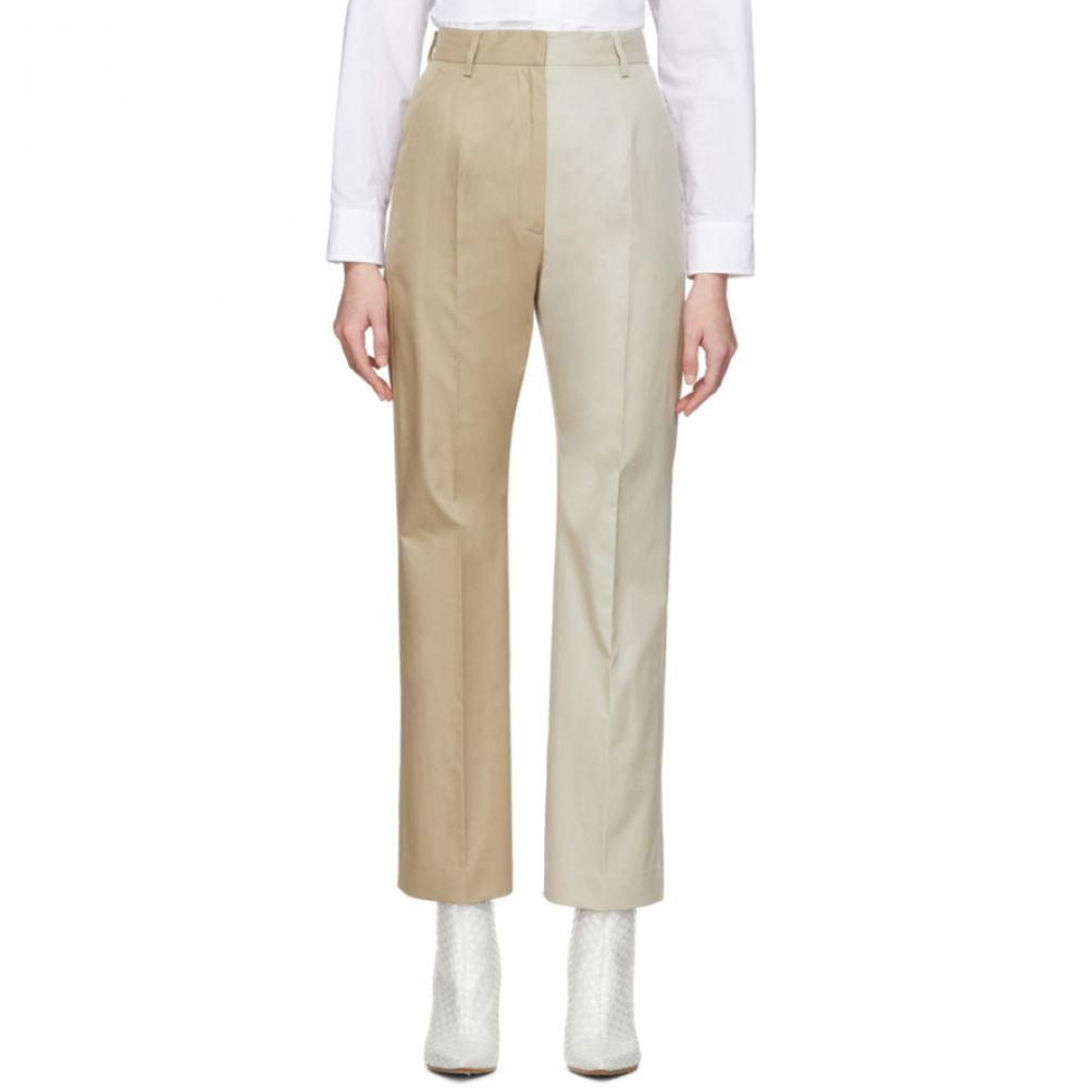 メゾン マルジェラ MM6 Maison Margiela レディース ボトムス・パンツ 【Beige Two-Tone Straight Trousers】Mastic beige
