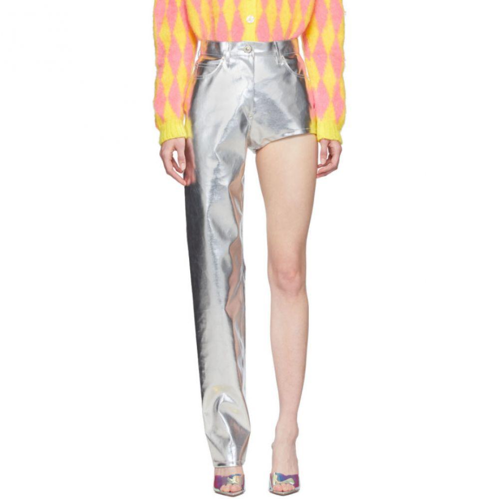 プッシュボタン Pushbutton レディース ボトムス・パンツ 【SSENSE Exclusive Silver One-Leg Trousers】Silver