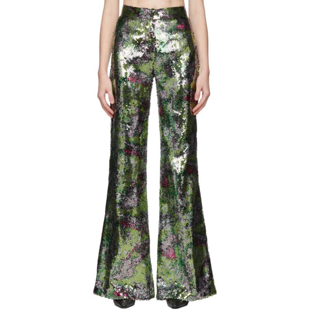 ハルパーン Halpern レディース ボトムス・パンツ 【Mutlicolor Sequin Stovepipe Trousers】Green bloss