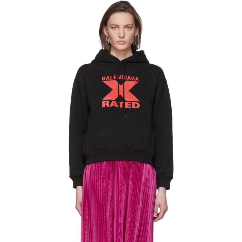 バレンシアガ Balenciaga レディース パーカー トップス【Black 'X-Rated' Hoodie】Black/Red
