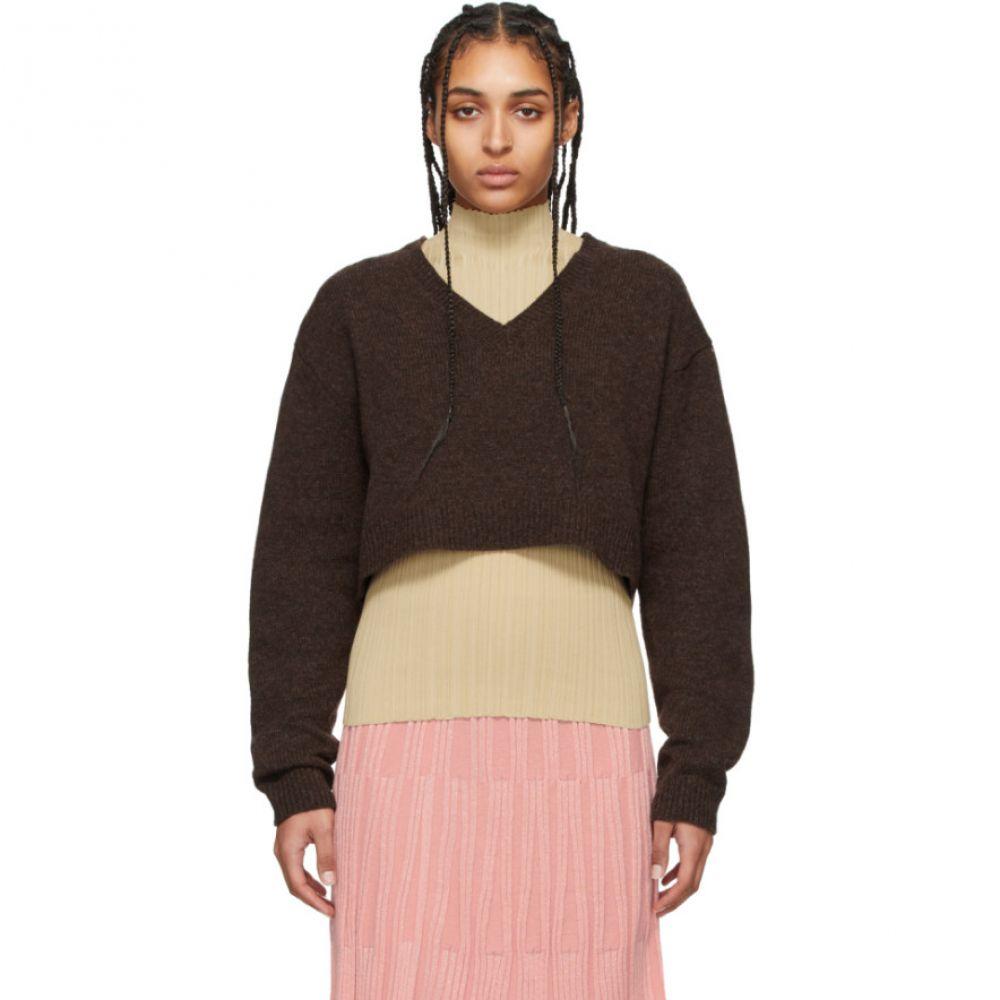 アクネ ストゥディオズ Acne Studios レディース ニット・セーター Vネック トップス【Brown Wool Cropped V-Neck Kadienne Sweater】Dark brown