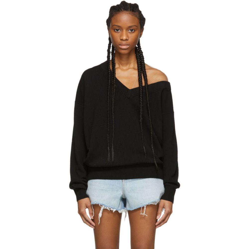 アレキサンダー ワン Alexander Wang レディース ニット・セーター Vネック トップス【Black Wool Asymmetrical V-Neck Sweater】Black