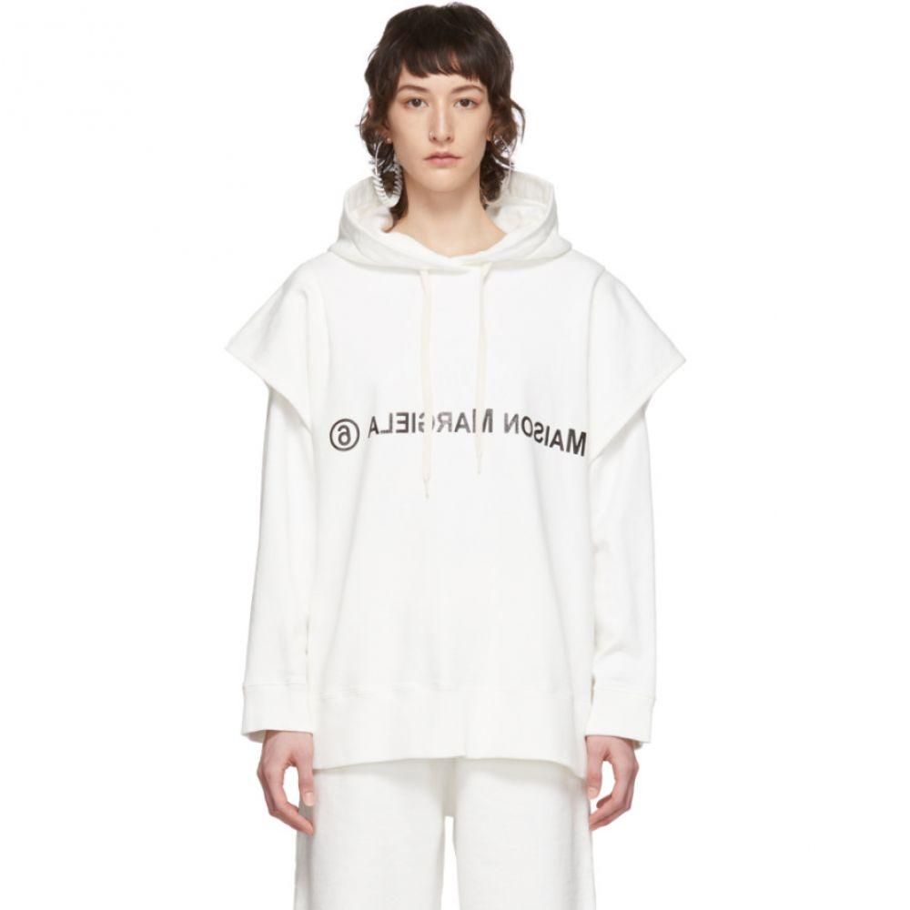 メゾン マルジェラ MM6 Maison Margiela レディース パーカー トップス【White Double Layered Hoodie】White