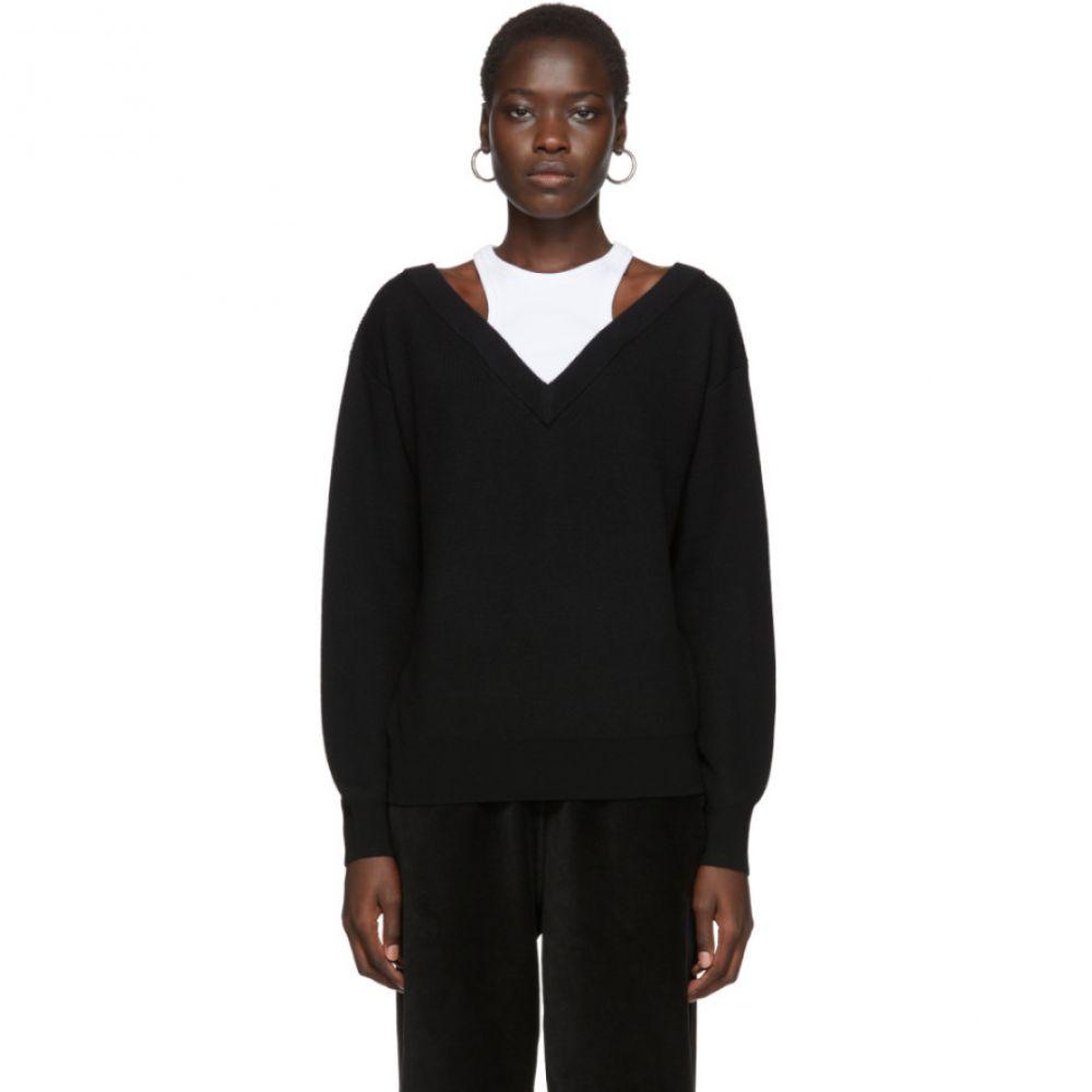 アレキサンダー ワン alexanderwang.t レディース ニット・セーター Vネック トップス【Black Cropped Bi-Layer V-Neck Sweater】Black/White