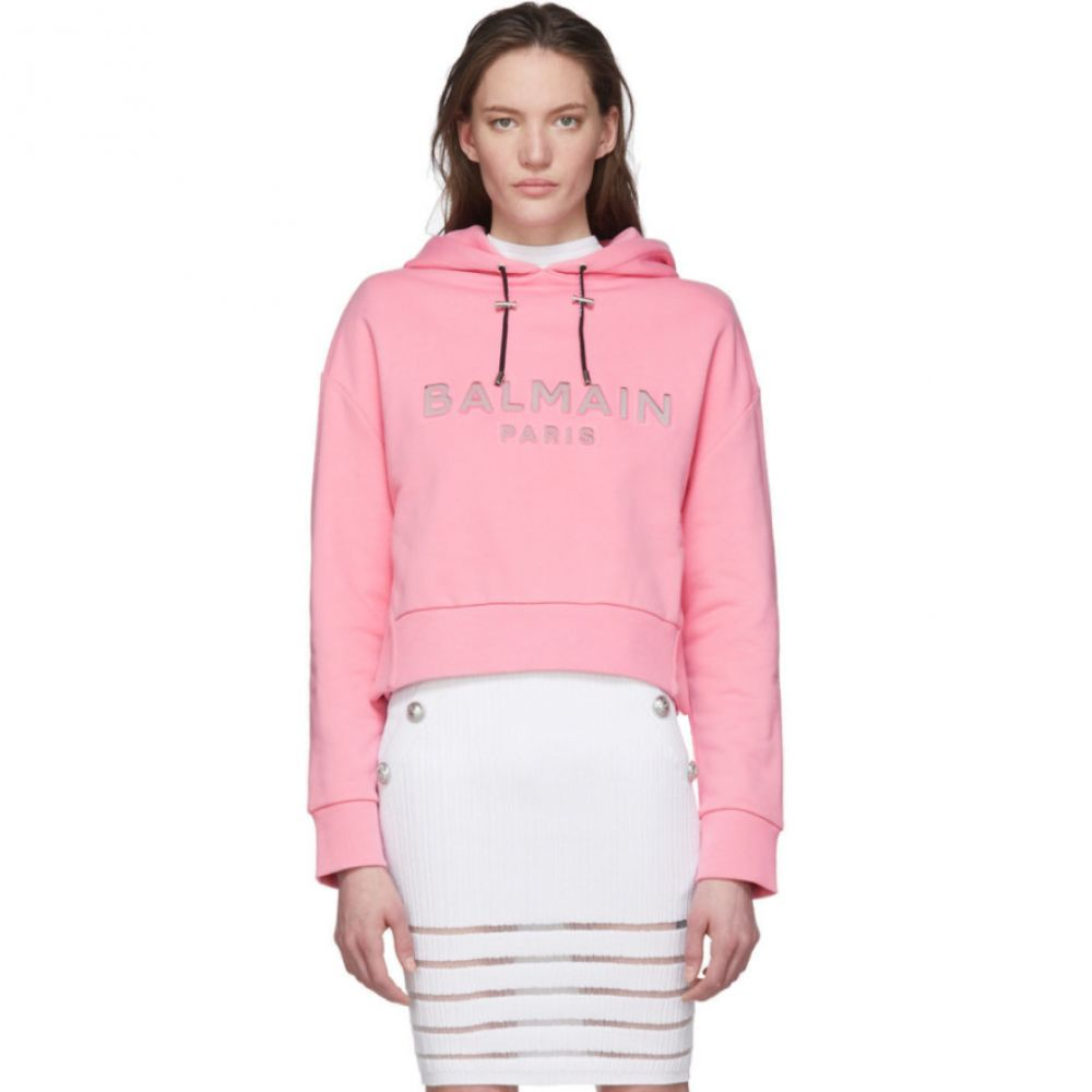 バルマン Balmain レディース パーカー トップス【Pink Mirrored Logo Hoodie】Silver/Pink