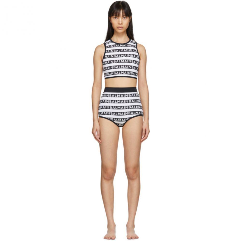 バルマン Balmain レディース 上下セット 水着・ビーチウェア【Black & White Logo Stripes Bikini】Black/White