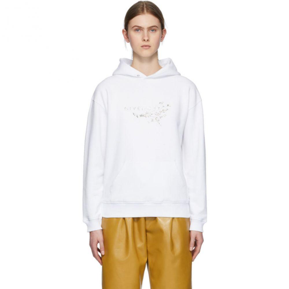 ジバンシー Givenchy レディース パーカー トップス【White Crystal Floral Logo Hoodie】White