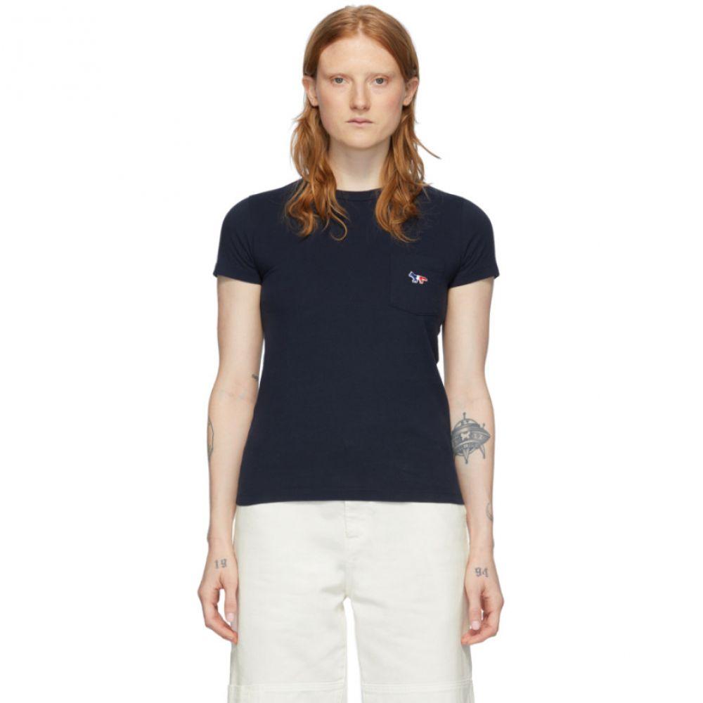 メゾン キツネ Maison Kitsune レディース Tシャツ トップス【Navy Tricolor Fox T-Shirt】Navy