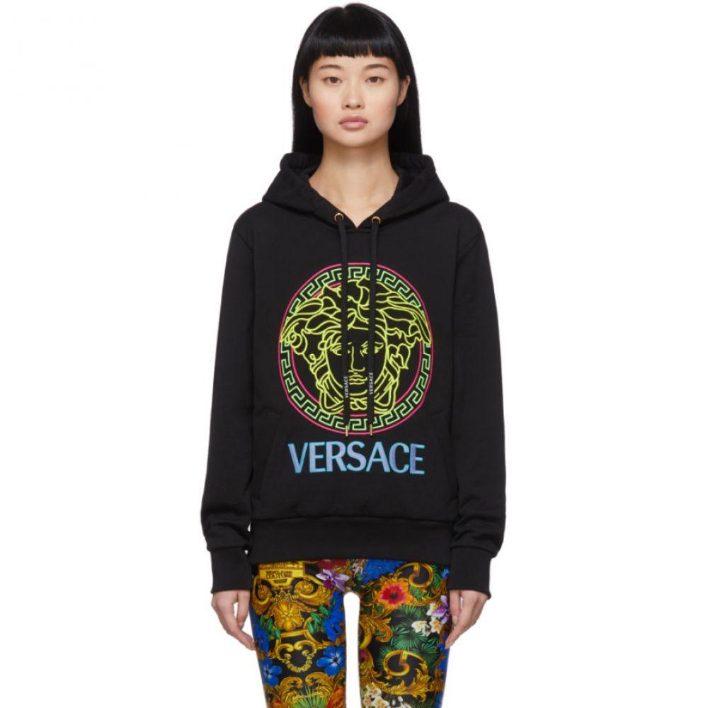 ヴェルサーチ Versace レディース パーカー メデューサ トップス【Black Neon Medusa Hoodie】Black