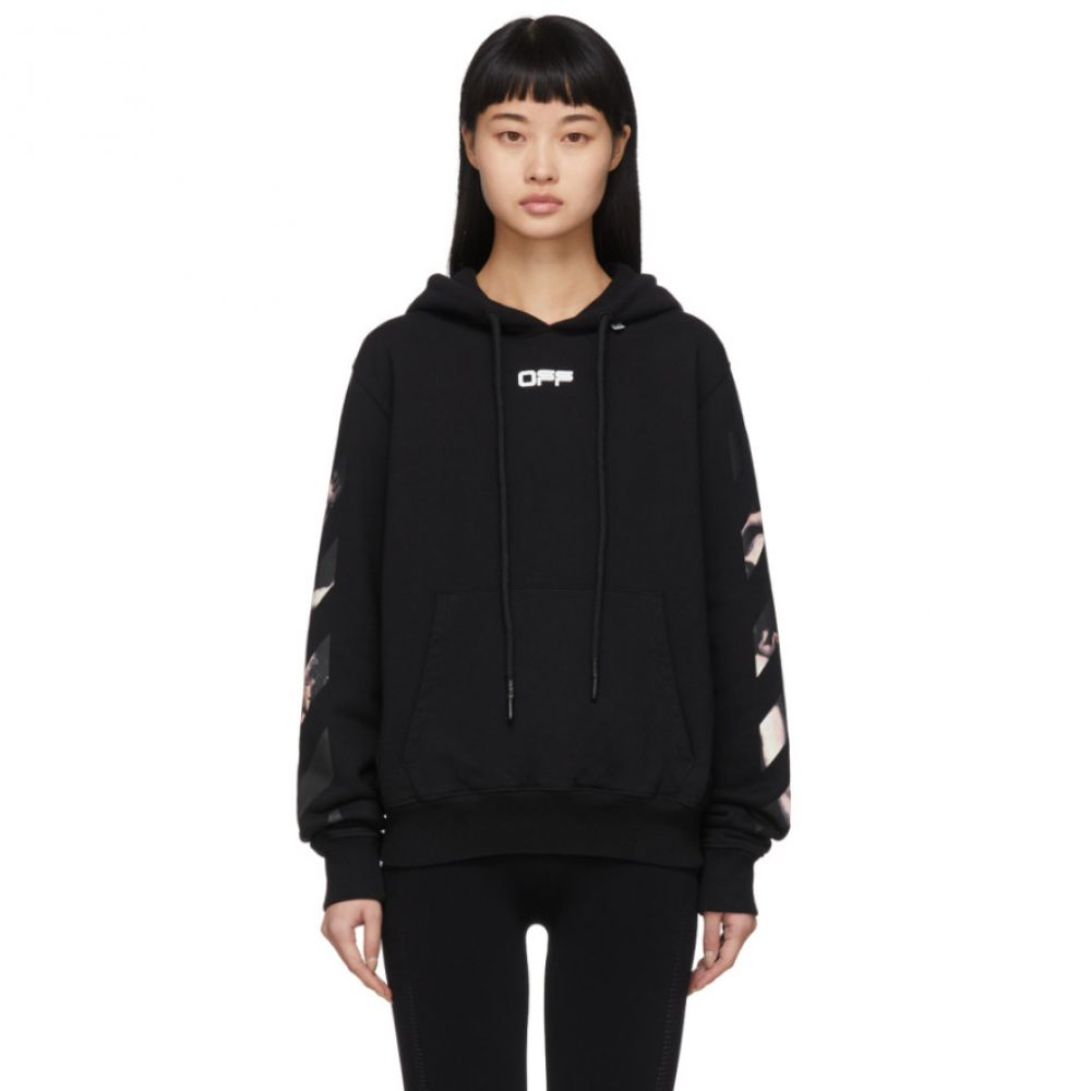 オフホワイト Off-White レディース パーカー トップス【Black Caravaggio Arrows Slim Hoodie】Black/Multi