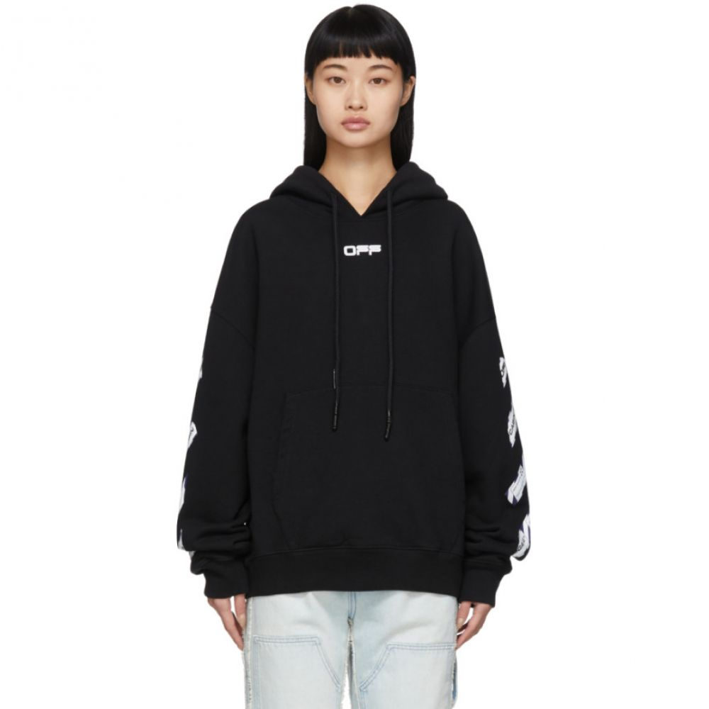 オフホワイト Off-White レディース パーカー トップス【Black Airport Tape Double T-Shirt Hoodie】Black/Multi