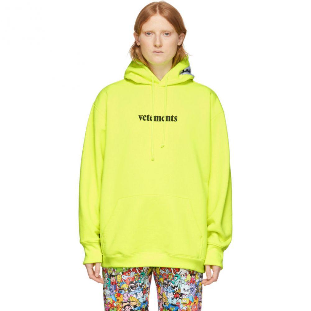 ヴェトモン VETEMENTS レディース パーカー トップス【Yellow Logo Hoodie】Fluo yellow