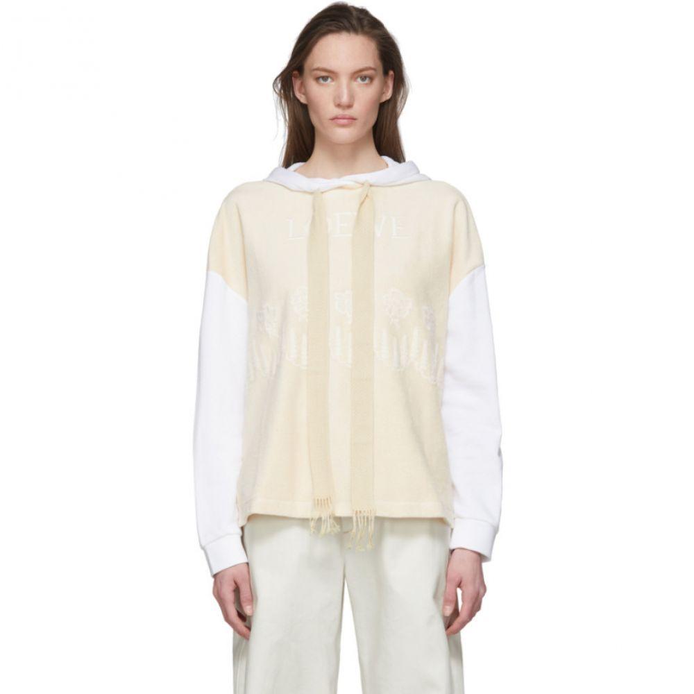 ロエベ Loewe レディース パーカー トップス【Beige & White Embroidered Hoodie】Ecru/White