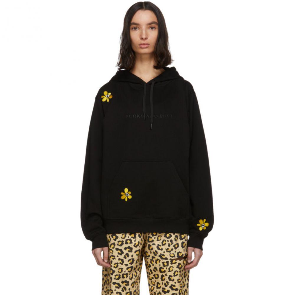 パークスアンドミニ Perks and Mini レディース パーカー トップス【SSENSE Exclusive Black Embroidered Hoodie】Black/Yellow