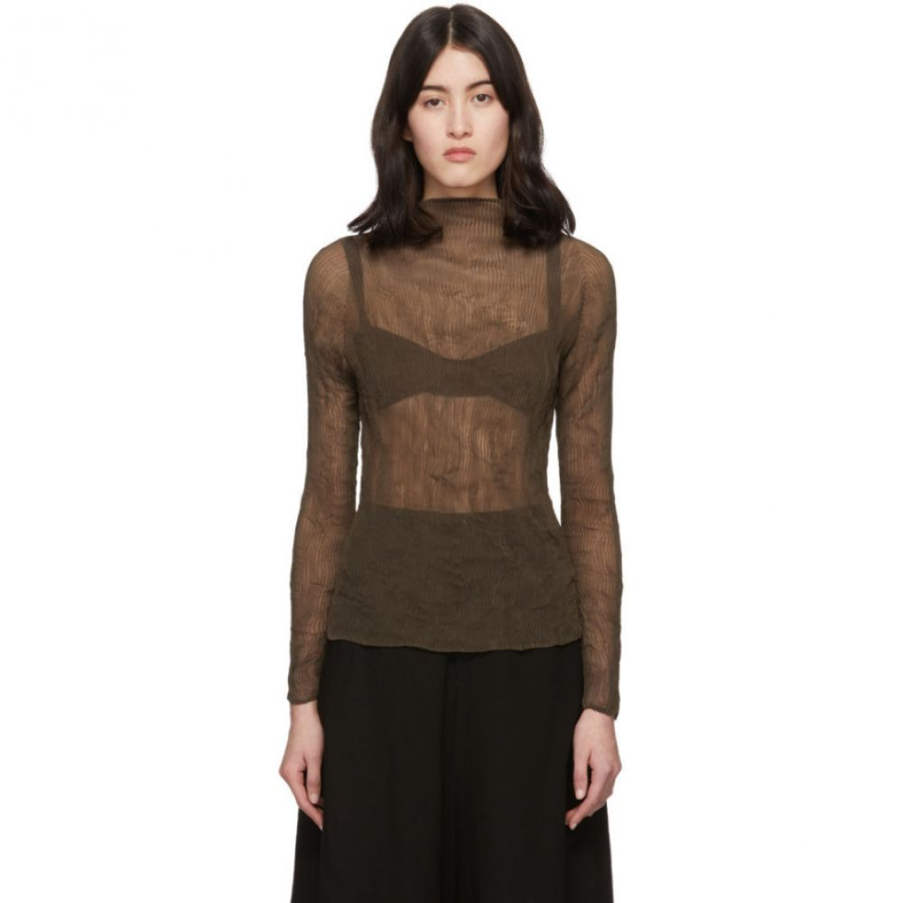 イッセイ ミヤケ Issey Miyake レディース ブラウス・シャツ トップス【Brown Chiffon Twist Pleats Blouse】Dark brown