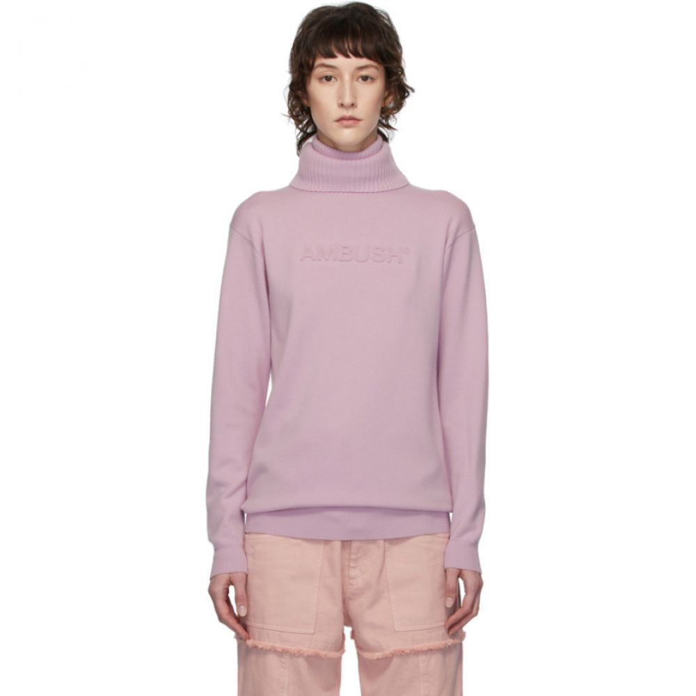 アンブッシュ Ambush レディース ニット・セーター トップス【Pink Logo Emboss Knit Turtleneck】Pink