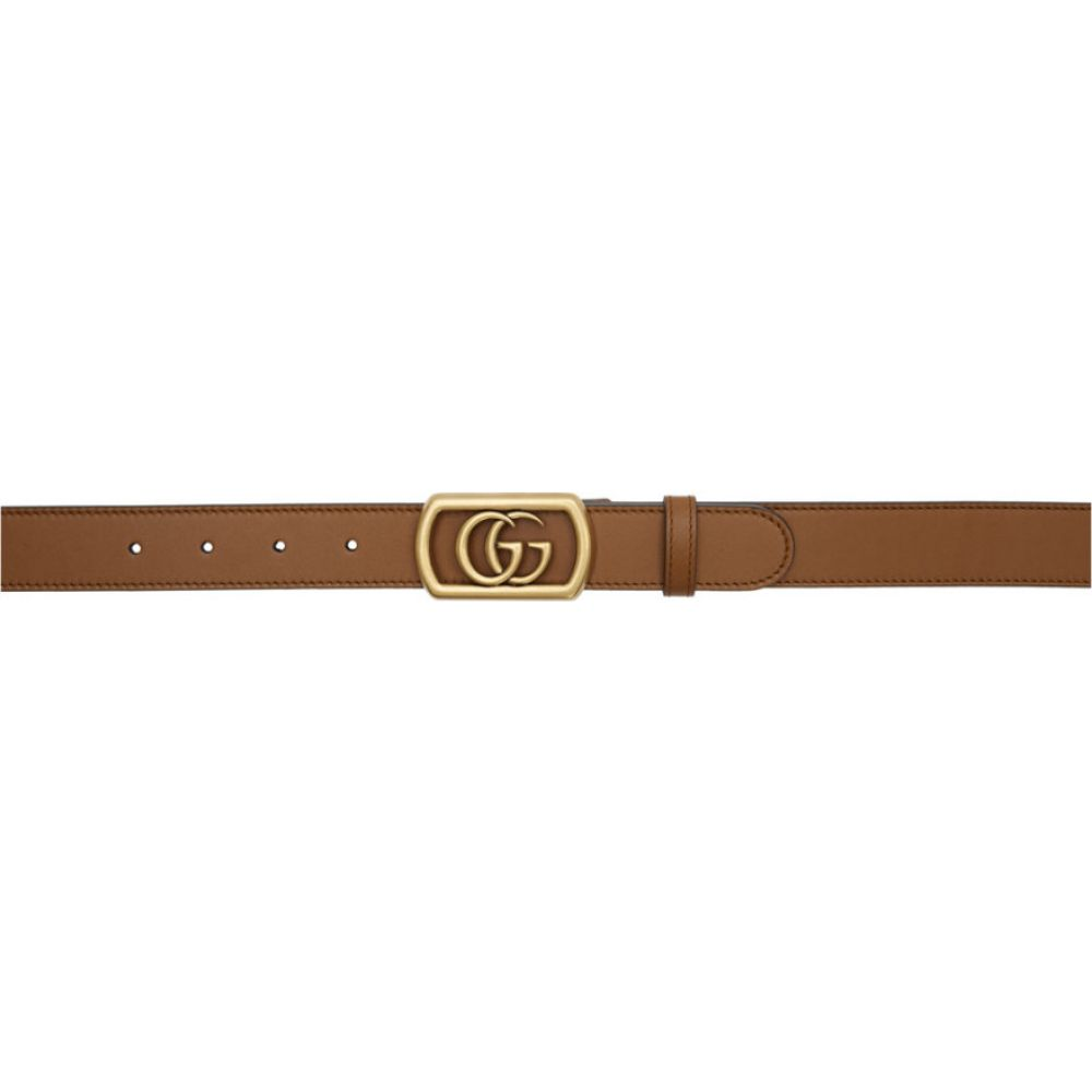 グッチ Gucci メンズ ベルト 【Brown Framed Double G Belt】Cuir
