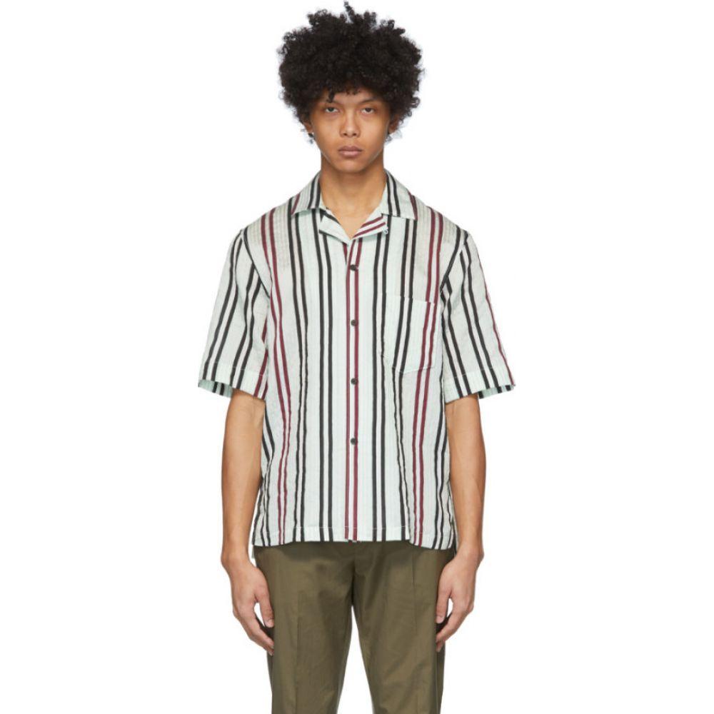 アクネ ストゥディオズ Acne Studios メンズ 半袖シャツ トップス【White & Burgundy Striped Short Sleeve Shirt】Green/Burgundy