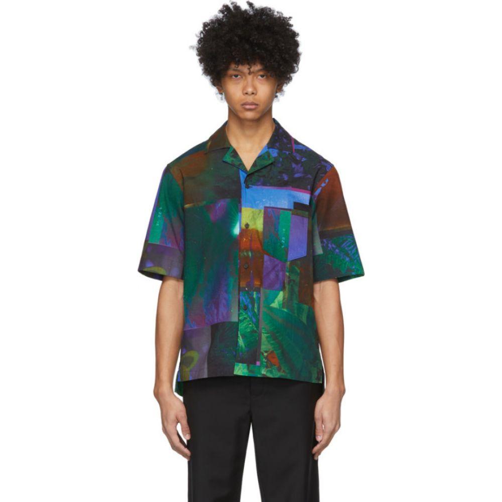 アクネ ストゥディオズ Acne Studios メンズ 半袖シャツ トップス【Navy & Green Botanical Print Short Sleeve Shirt】Navy/Green