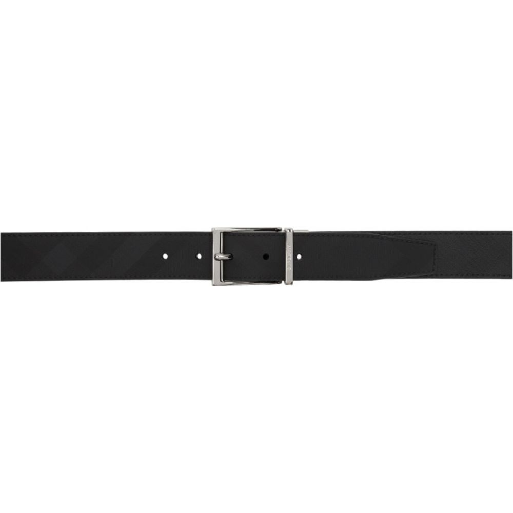 バーバリー Burberry メンズ ベルト 【Reversible Black & Grey London Check Belt】Dark charcoal