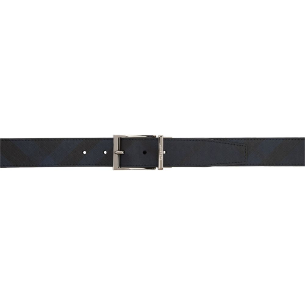 バーバリー Burberry メンズ ベルト 【Reversible Black & Blue London Check Belt】Navy/Black