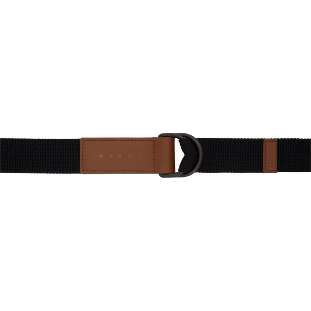 マルニ Marni メンズ ベルト 【Black & Brown Webbing Belt】Black