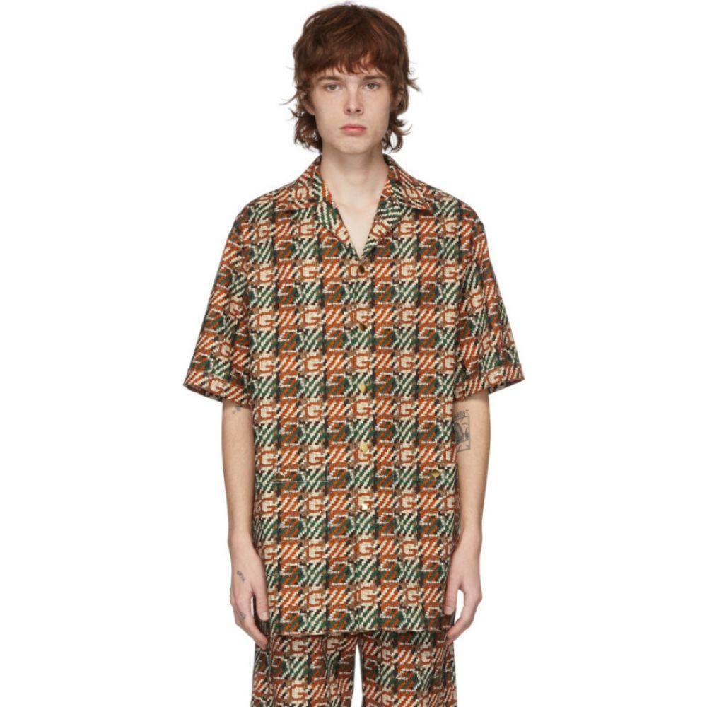 グッチ Gucci メンズ 半袖シャツ トップス【Multicolor G Print Short Sleeve Shirt】Ivory/Orange/Red/Green