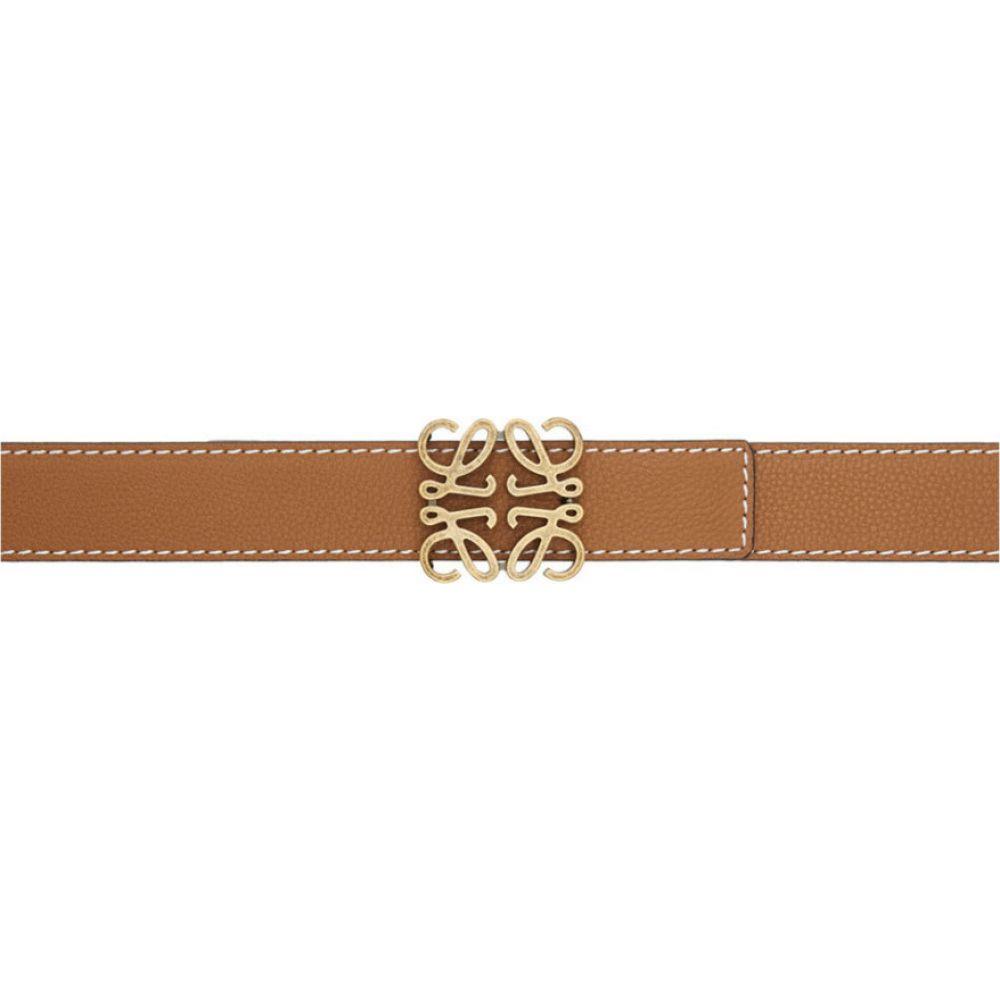 ロエベ Loewe メンズ ベルト 【Brown Contrast Stitch Anagram Belt】Tan/Black/Old gold