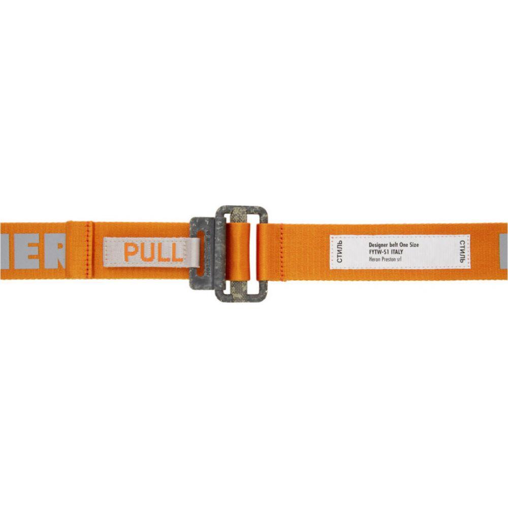 ヘロン プレストン Heron Preston メンズ ベルト 【Orange Reflective Logo Tape Belt】Orange/Concrete