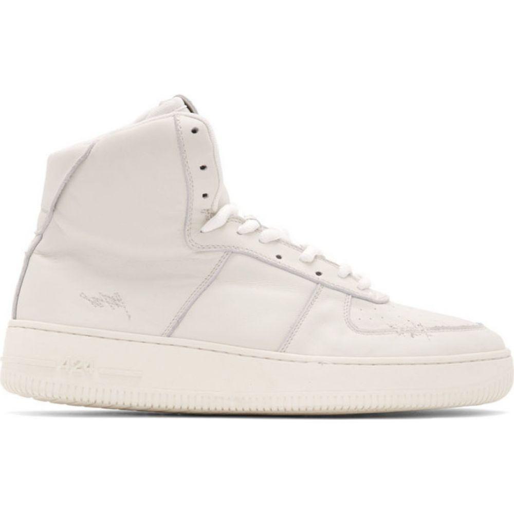 フォートゥーフォー 424 メンズ スニーカー シューズ・靴【White Distressed High-Top Sneakers】White