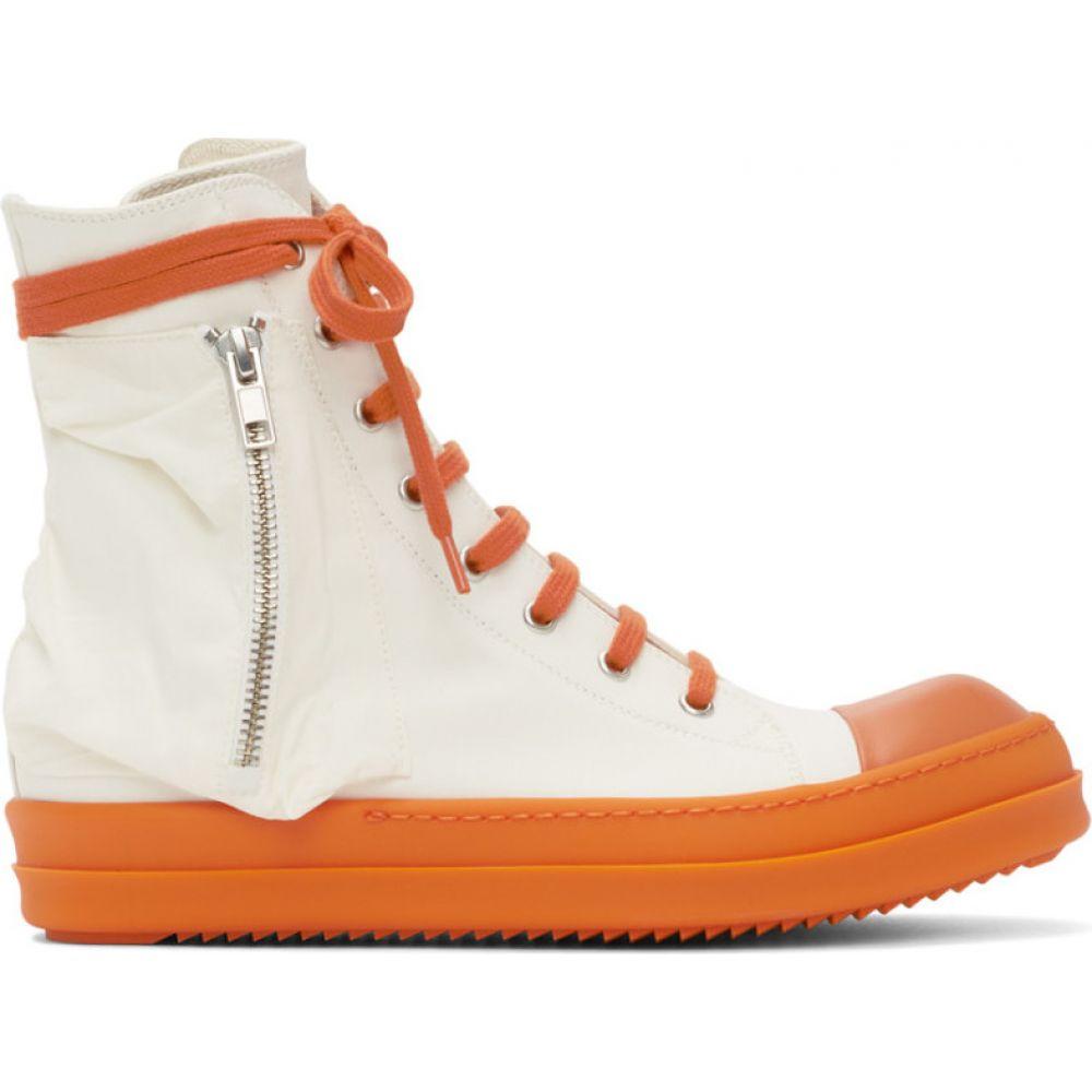 リック オウエンス Rick Owens Drkshdw メンズ スニーカー シューズ・靴【White & Orange Bauhaus Sneakers】Chalk white/Tangerine
