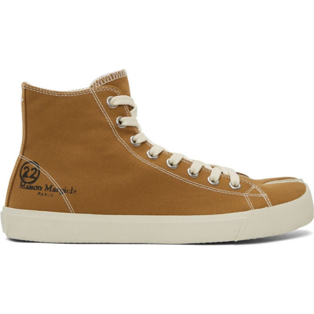 メゾン マルジェラ Maison Margiela メンズ スニーカー シューズ・靴【Brown Canvas Tabi High-Top Sneakers】Amber brown