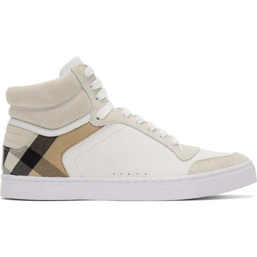 バーバリー Burberry メンズ スニーカー シューズ・靴【White House Check Reeth High-Top Sneakers】Optic white/ Archive beige