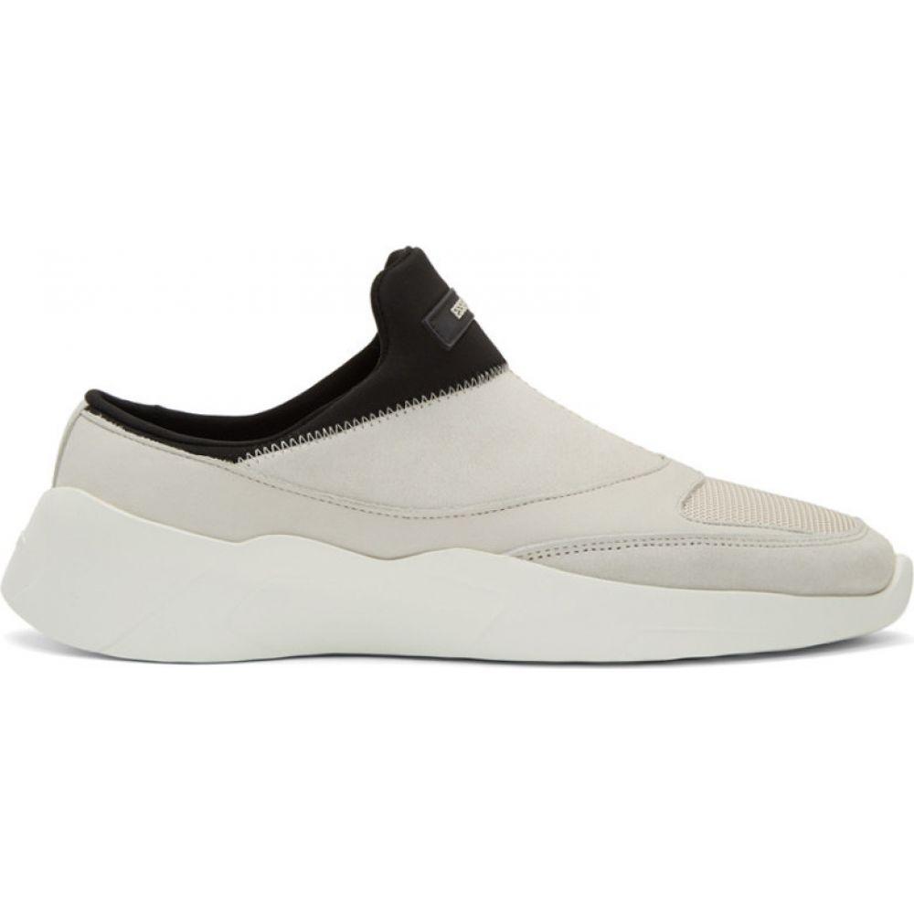 エッセンシャルズ Essentials メンズ スニーカー シューズ・靴【Beige & Black Laceless Backless Sneakers】Cream/Black