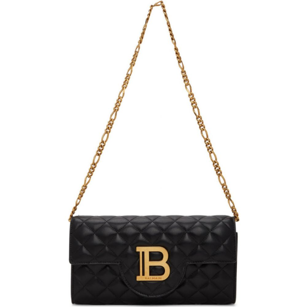バルマン Balmain レディース ショルダーバッグ バッグ【Black Quilted B-Wallet Chain Bag】Black