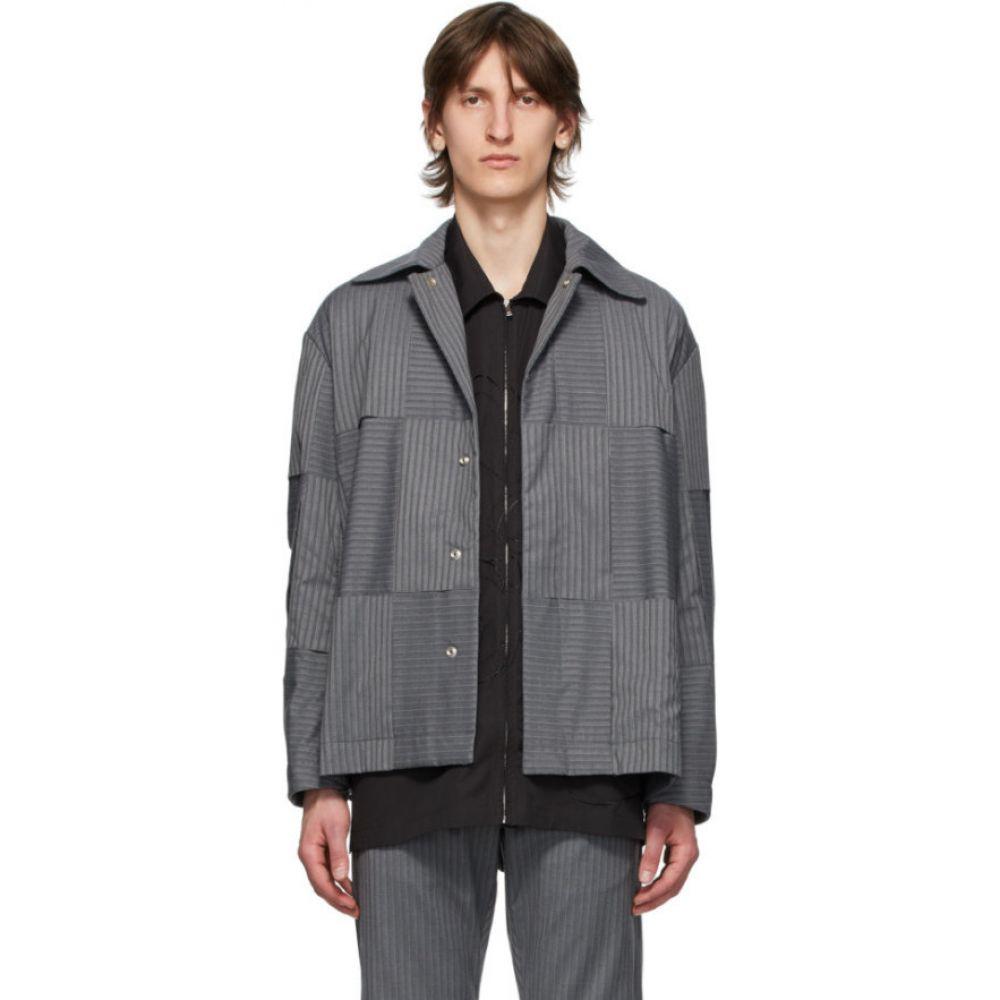 コーナーストーン Cornerstone メンズ ジャケット アウター【Grey Stripe Patchwork Jacket】Grey