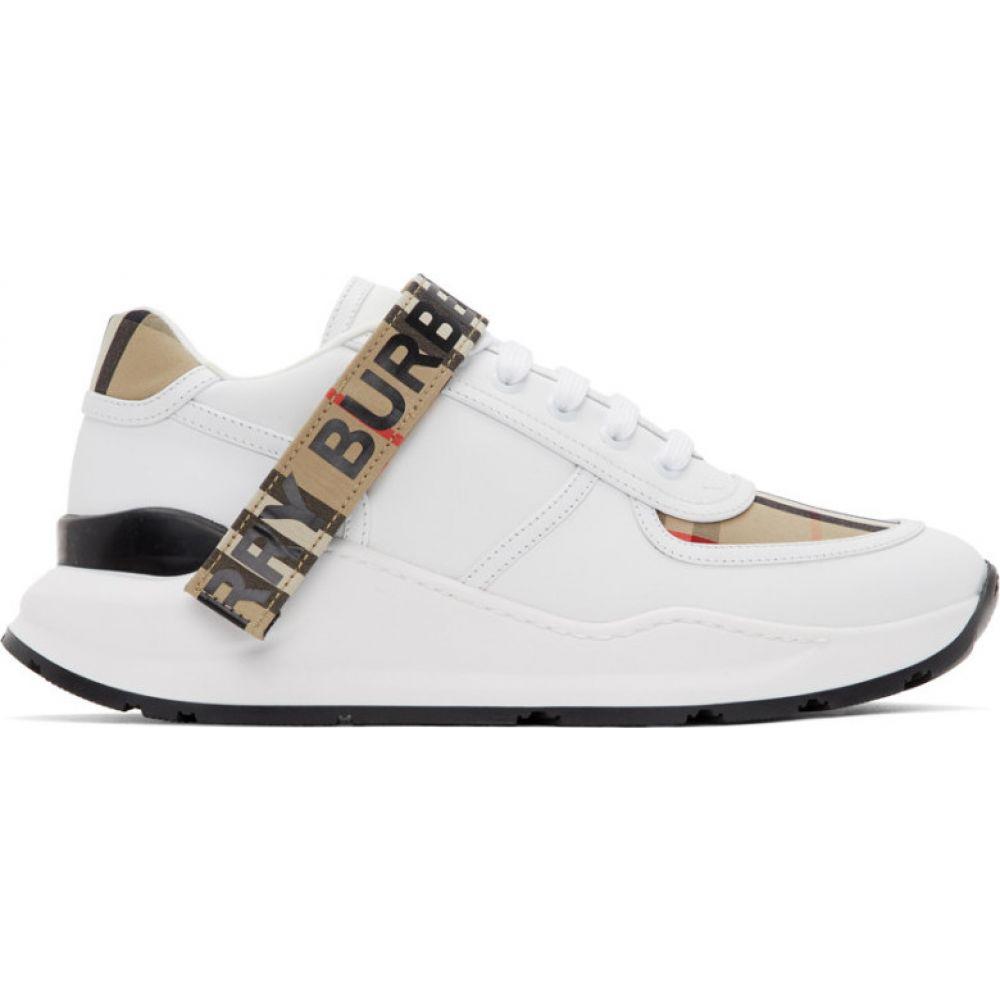 バーバリー Burberry メンズ スニーカー シューズ・靴【White & Beige Ronnie M Sneakers】Archive beige