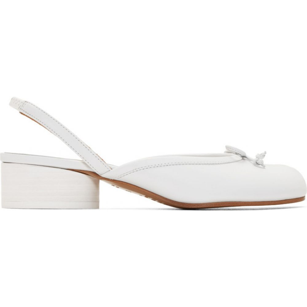メゾン マルジェラ Maison Margiela レディース ヒール シューズ・靴【White Tabi Slingback Heels】White