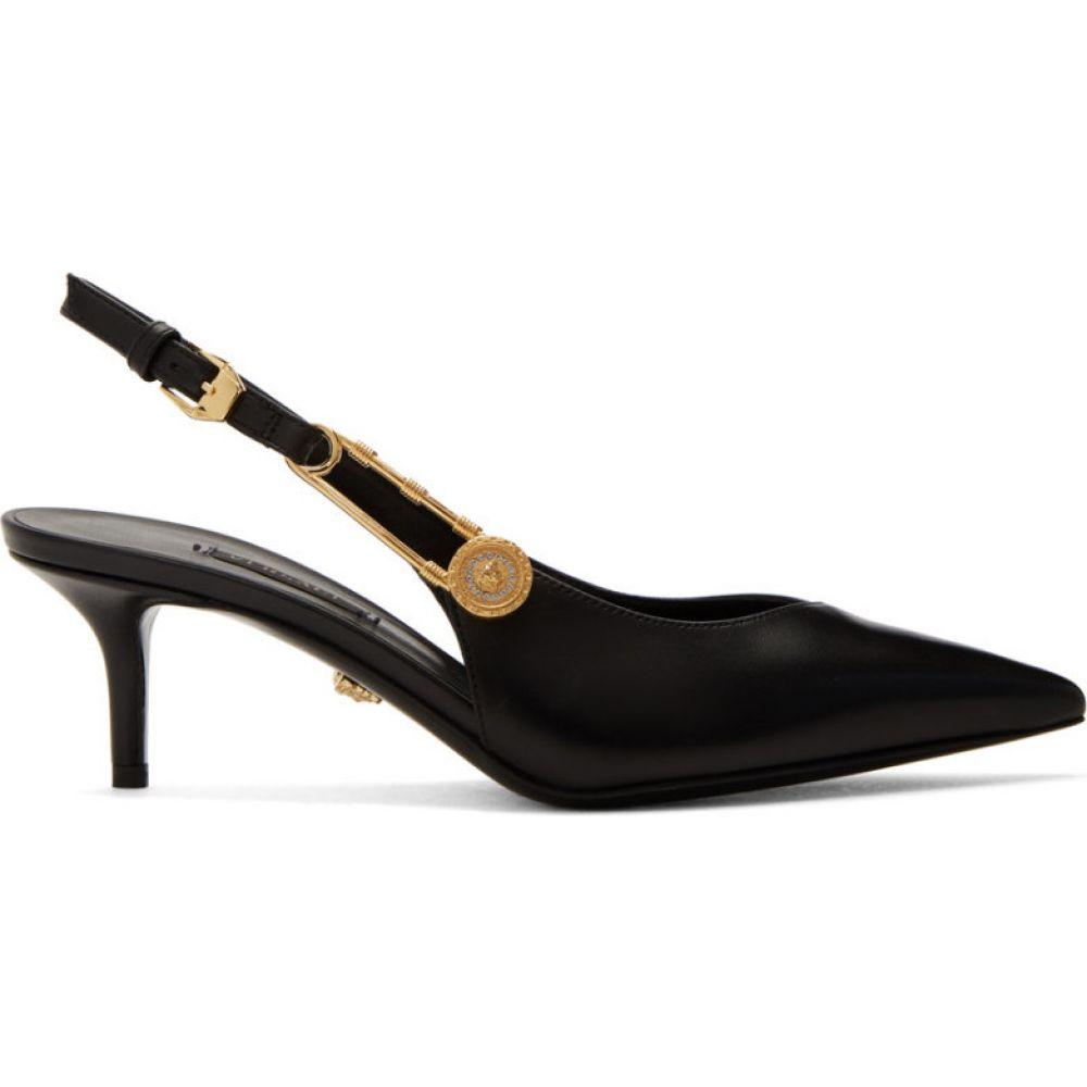 ヴェルサーチ Versace レディース ヒール メデューサ シューズ・靴【Black Medusa Safety Pin Heels】Black/Gold