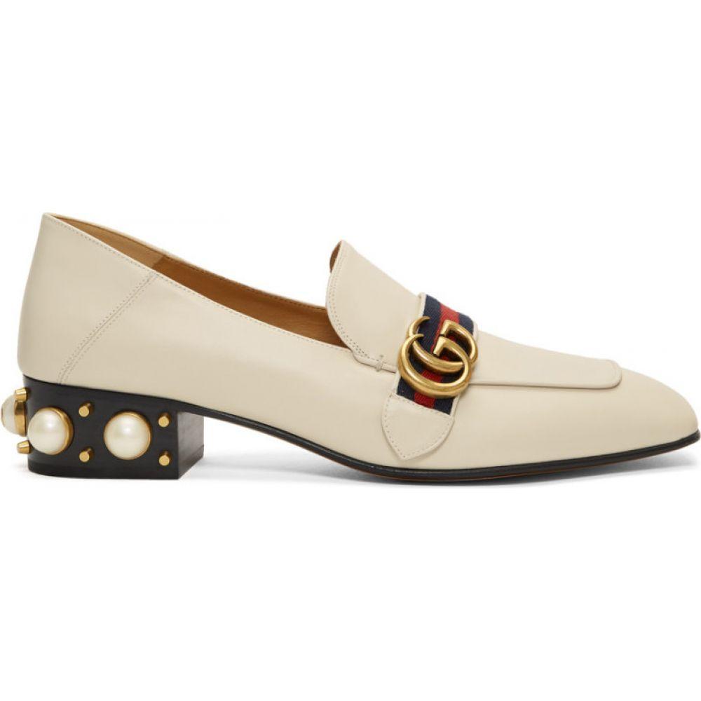 グッチ Gucci レディース ローファー・オックスフォード シューズ・靴【White Peyton Pearl Loafer Heels】White
