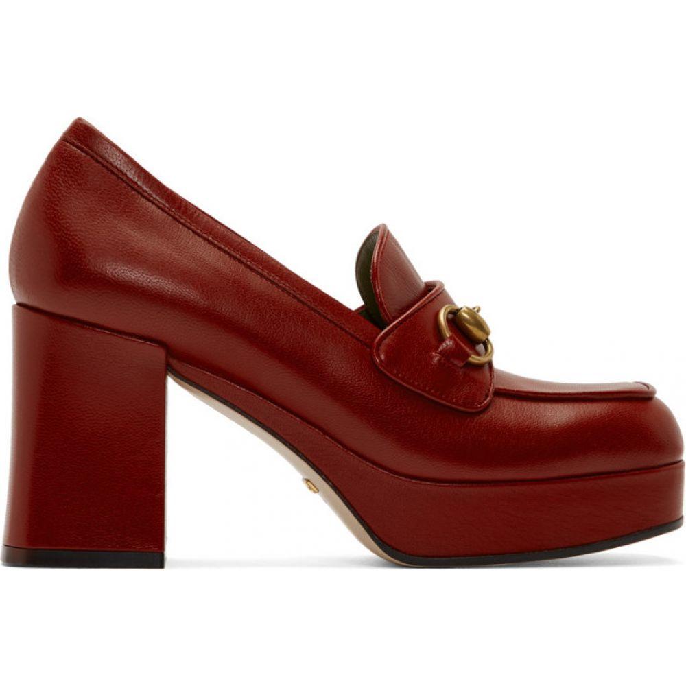 グッチ Gucci レディース ヒール シューズ・靴【Red Houdan Horsebit 85 Heels】Hibiscus red