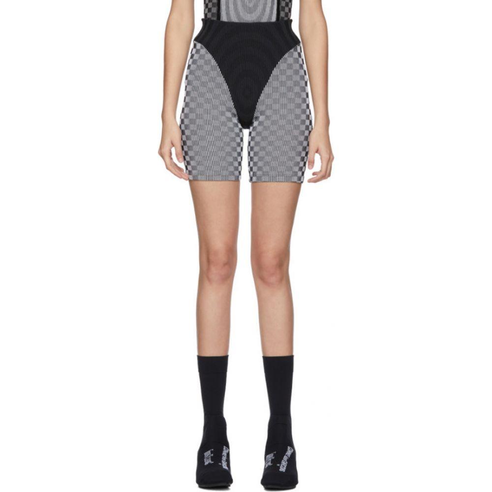 パウリーナ ルッソ Paolina Russo レディース 自転車 ショートパンツ ボトムス・パンツ【SSENSE Exclusive White & Grey Check Illusion Knit Cycling Shorts】White/Grey