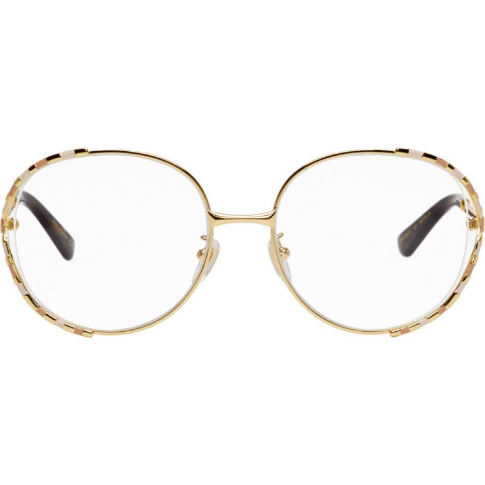 グッチ Gucci レディース メガネ・サングラス 【Gold & White Oversized Vintage Glasses】Gold/Pink