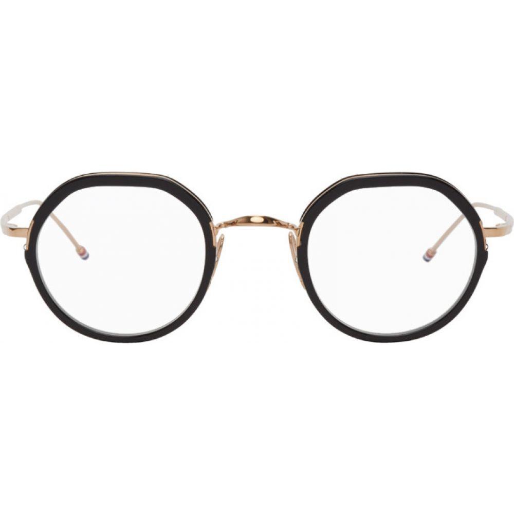 トム ブラウン Thom Browne レディース メガネ・サングラス 【Gold & Black TB-911 Glasses】Black/White gold