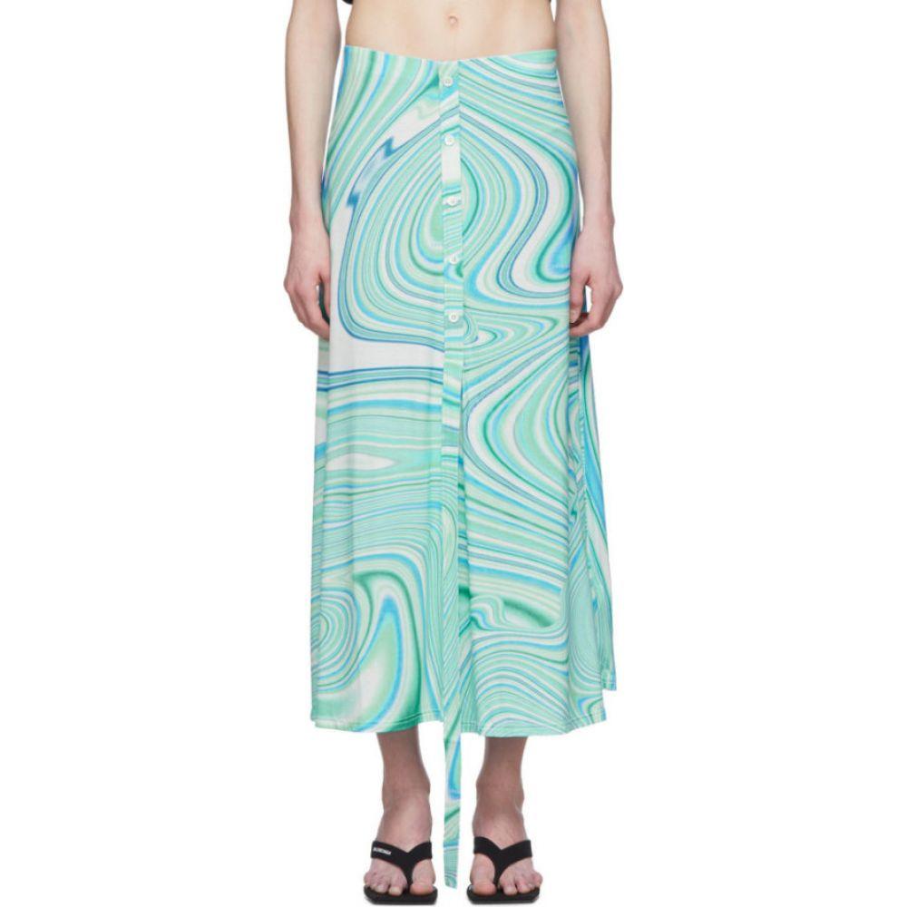 レカヴァリエ Lecavalier レディース ひざ丈スカート スカート【Blue Long Button Placket Skirt】Mint